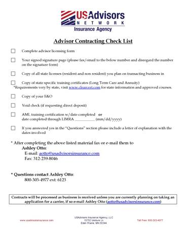 contracting checklist